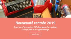 Nouveauté rentrée 2019 : ouverture de la section accordéon en temps plein et en apprentissage