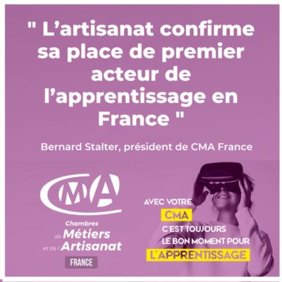 Dynamique de l'apprentissage : l'artisanat confirme sa place de premier acteur de l'apprentissage en France
