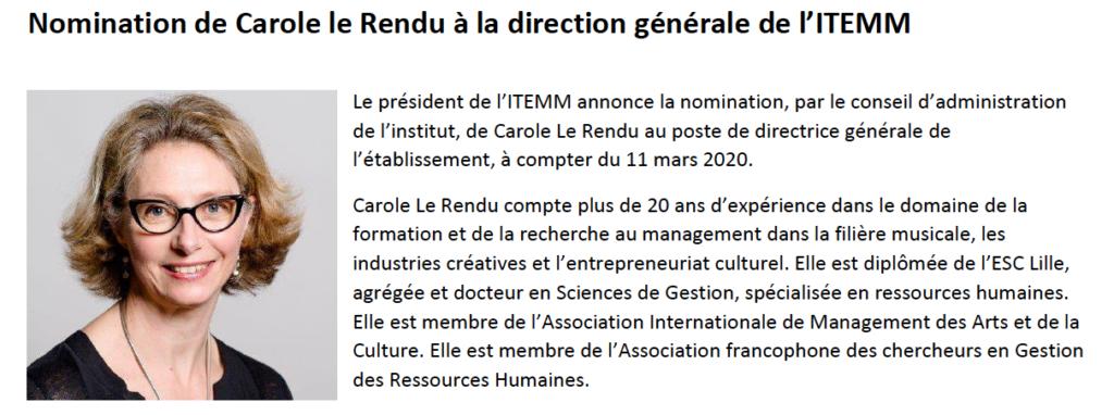 Nomination de Carole le Rendu à la direction générale de l'ITEMM